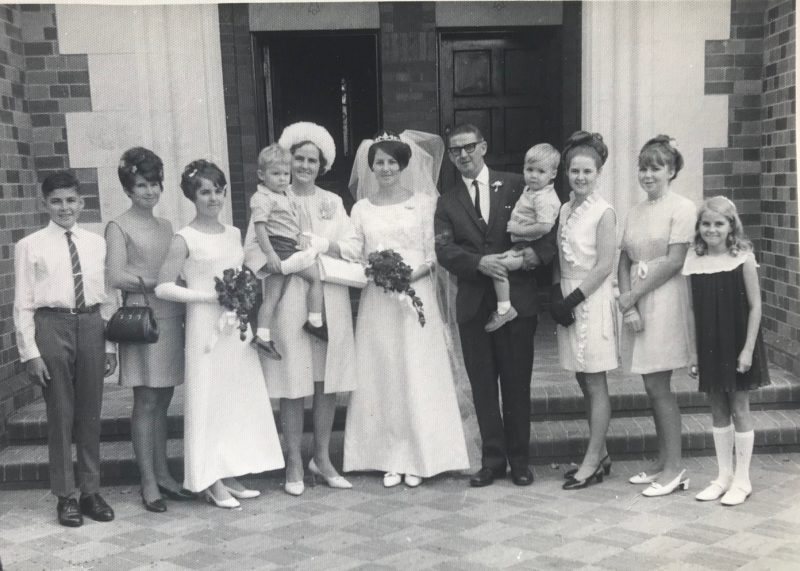 Large family in wedding photo