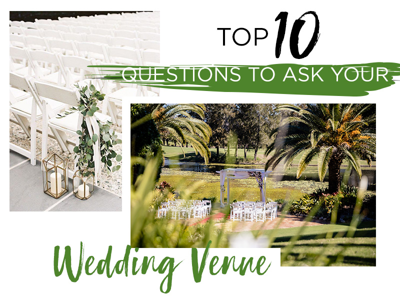 The top ten questions to ask your wedding venue. When it comes to coordinating your wedding you will need to take a lot of elements into consideration such as location, price, level of service, venue style and much more.