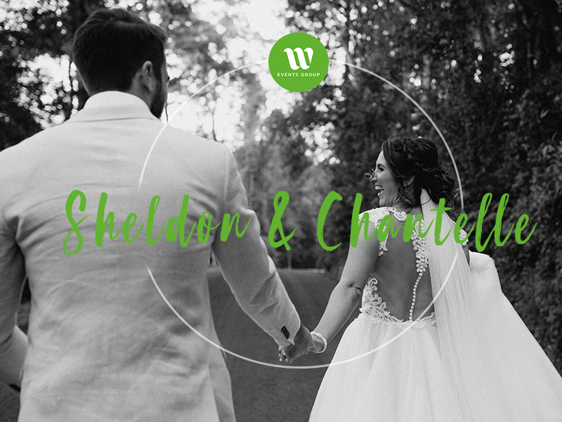 Real wedding Sheldon and Chantelle black and white image
